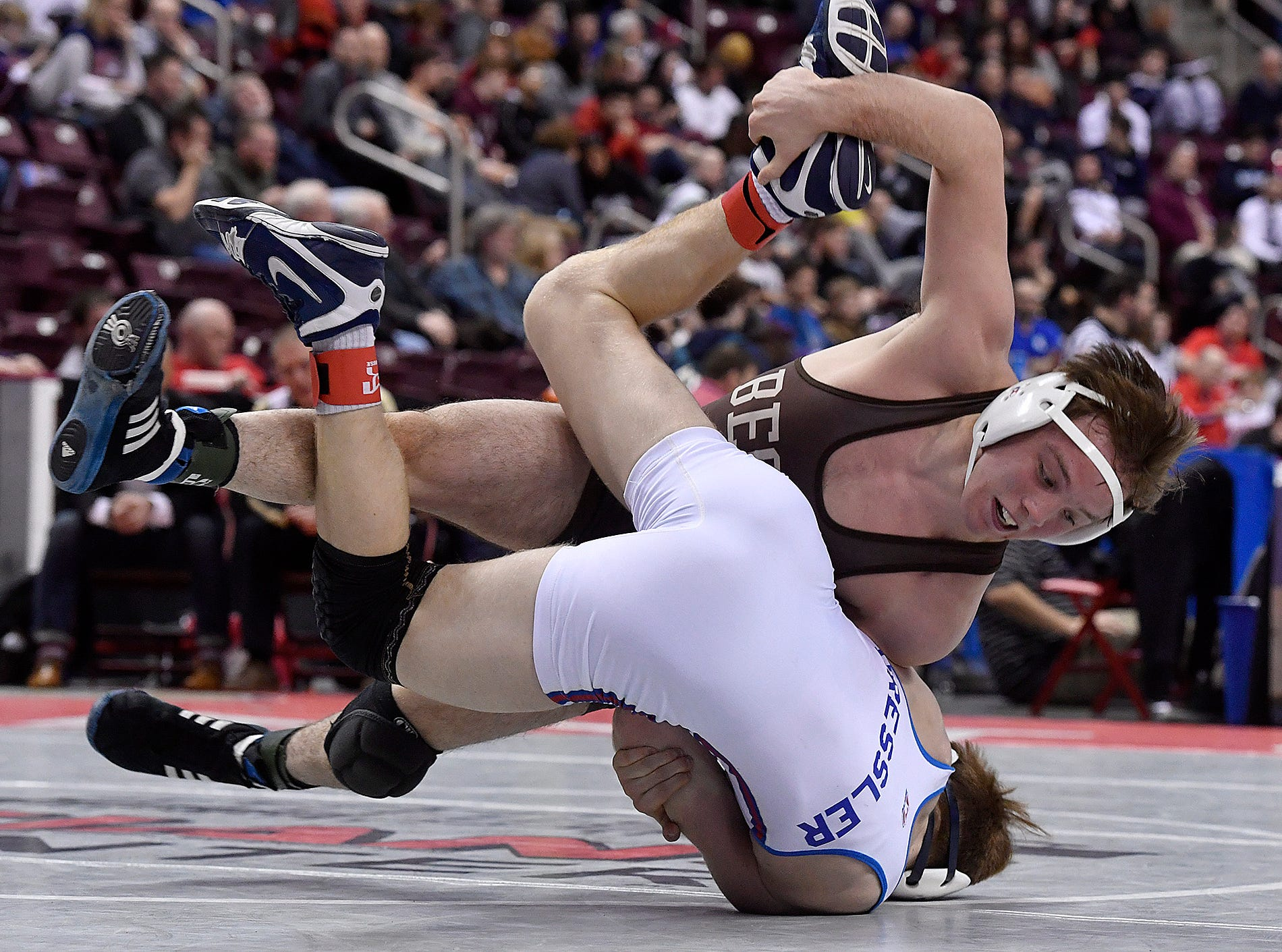 Ryan Anderson of Becahi takes down Thomas Dressler of Spring Grove during the PIAA Class 3-A 145 pound first round match, Thursday, March 7, 2019.John A. Pavoncello photo