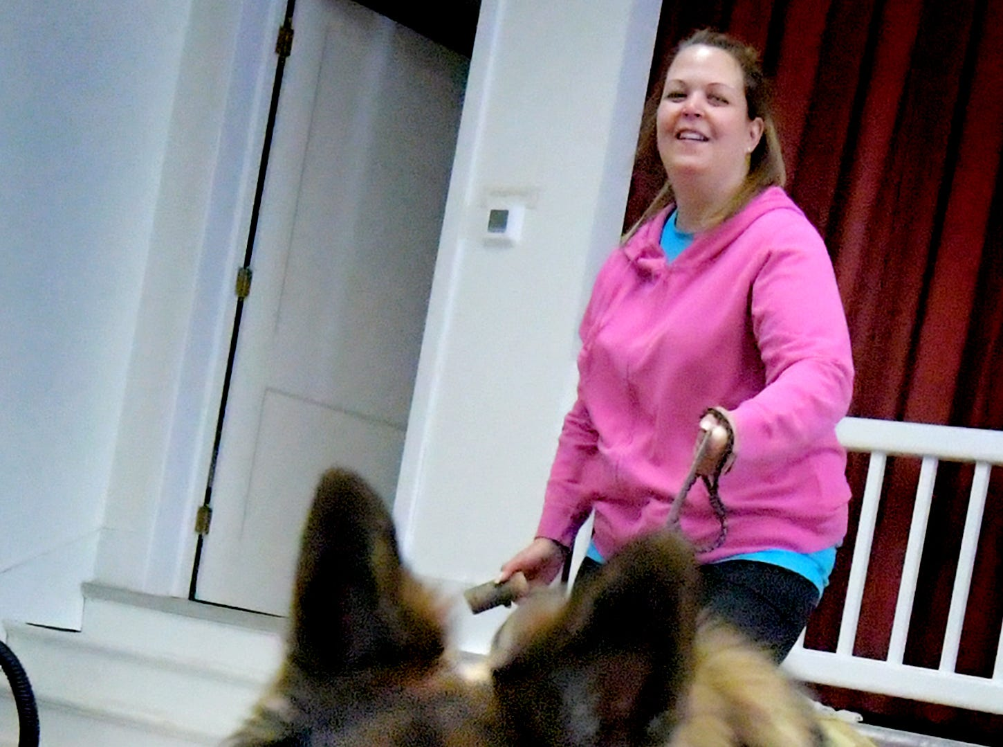 "Nicole Bender of Dover Township works with ""Radar"" during a training session at Trinity Lutheran Church in East Berlin Thursday, March 7, 2019. She was participating in a session offered by Cover Six Canines, a ministry of Freedom Biker Church York, which gives free service dog training to veterans. The family's dog was being trained to provide aid to her live-in mother-in-law. Bill Kalina photo"