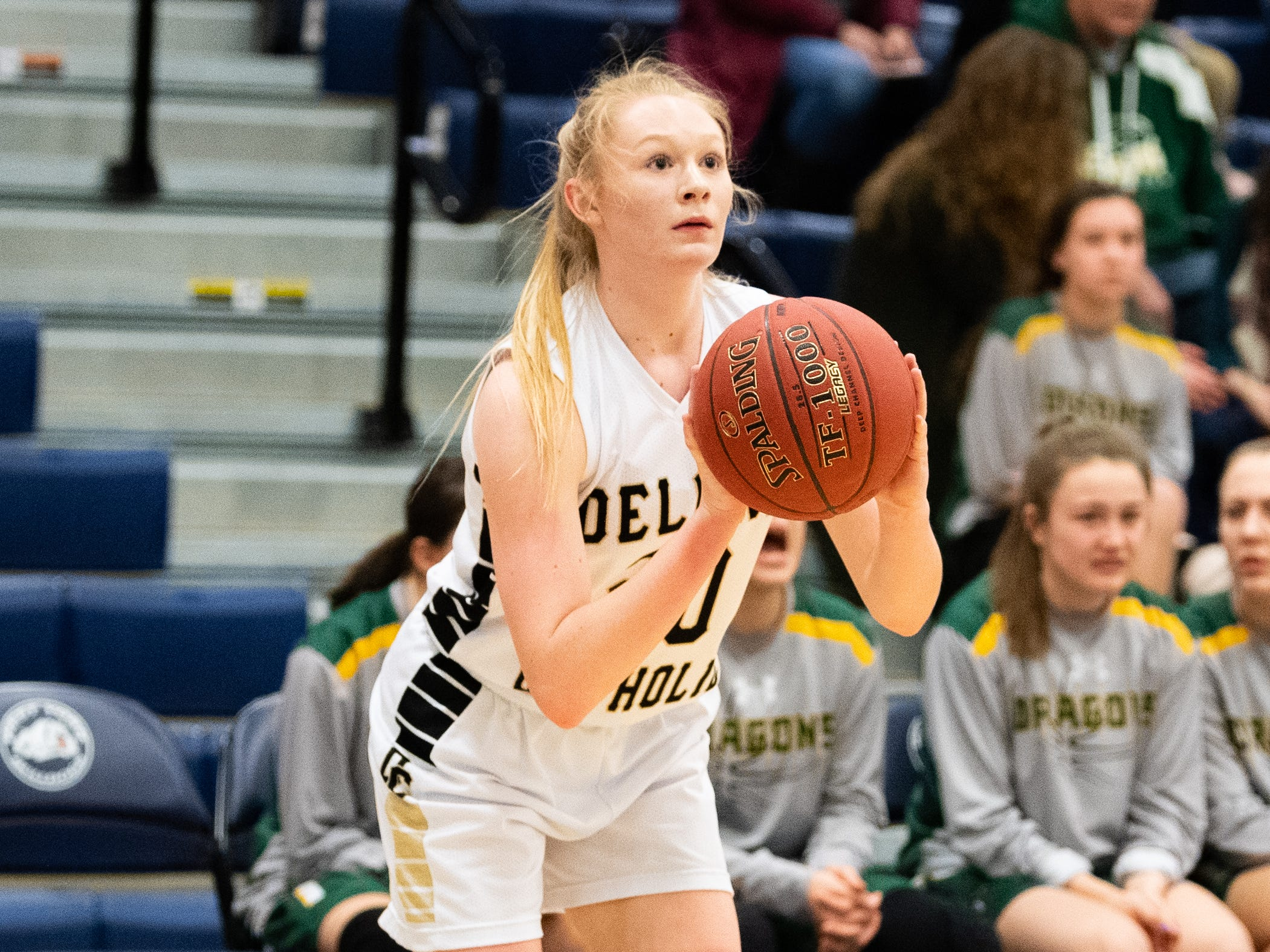 Brooke Lawyer (20) shoots the three-pointer during the PIAA first round girls' basketball game between Delone Catholic and Lewisburg Area Friday, March 8, 2019 at West York Area High School. The Squires lead the Green Dragons.