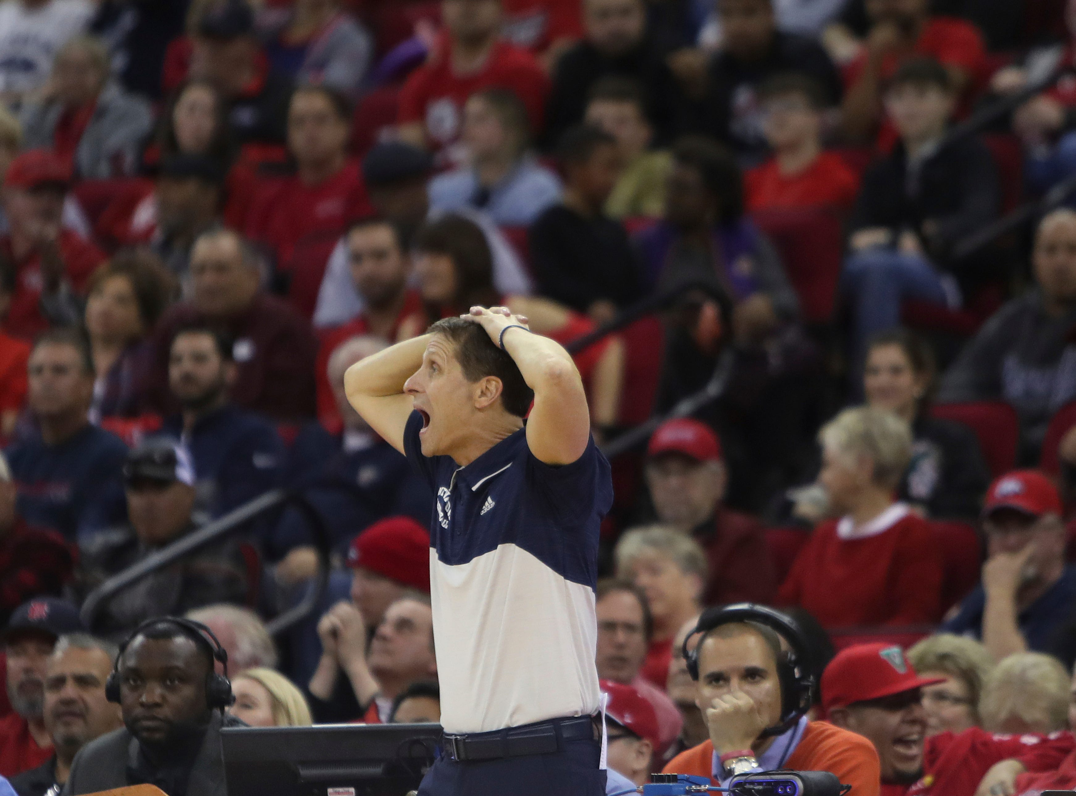 Nevada's coach Eric Musselman reacts to a call during the second half of an NCAA college basketball game against Fresno State in Fresno, Calif., Saturday, Jan. 12, 2019. (AP Photo/Gary Kazanjian)