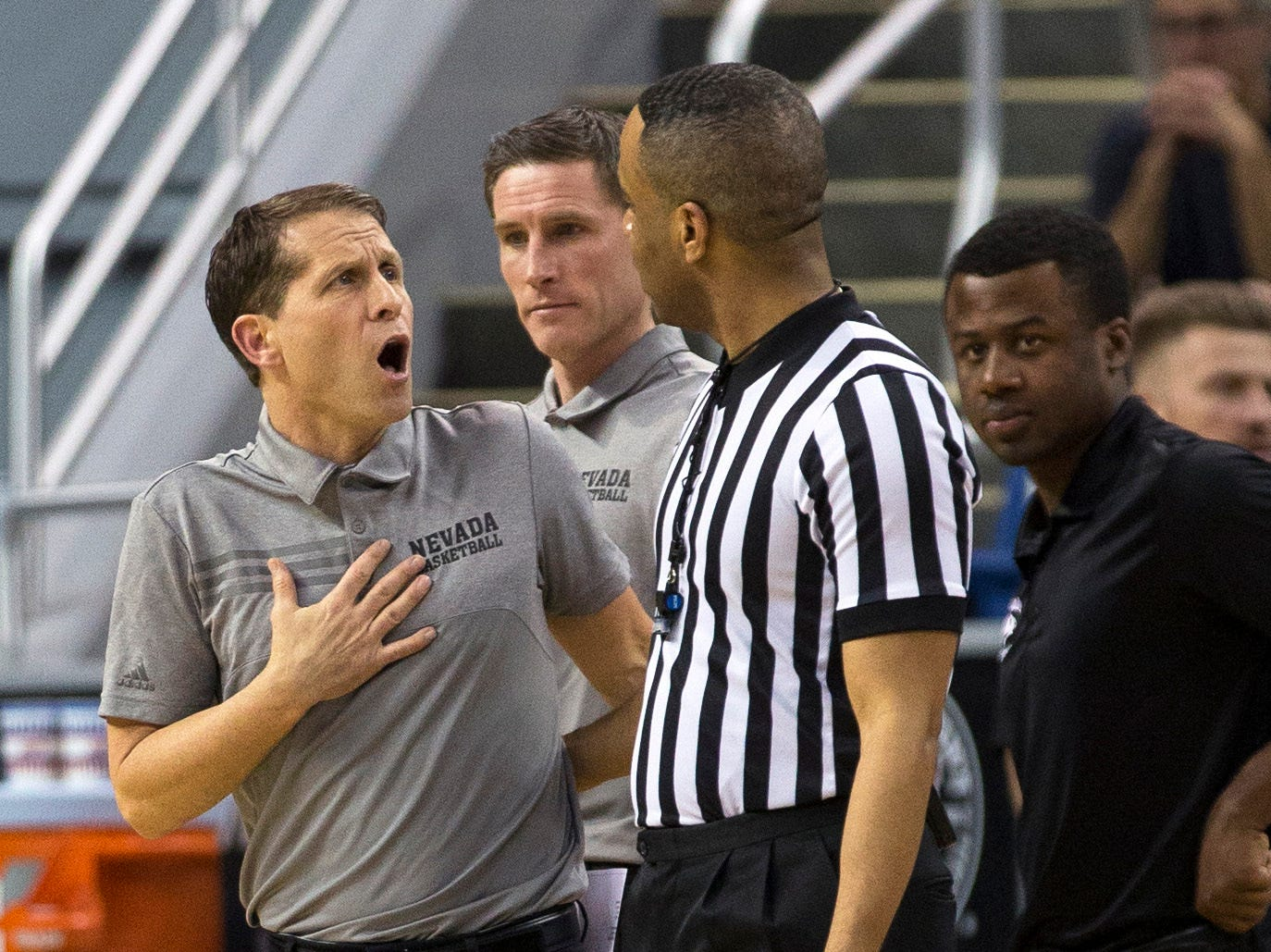 Nevada head coach Eric Musselman reacts after a foul is called in the first half an NCAA college basketball game against San Jose State in Reno, Nev., Wednesday, Jan. 9, 2019. (AP Photo/Tom R. Smedes)
