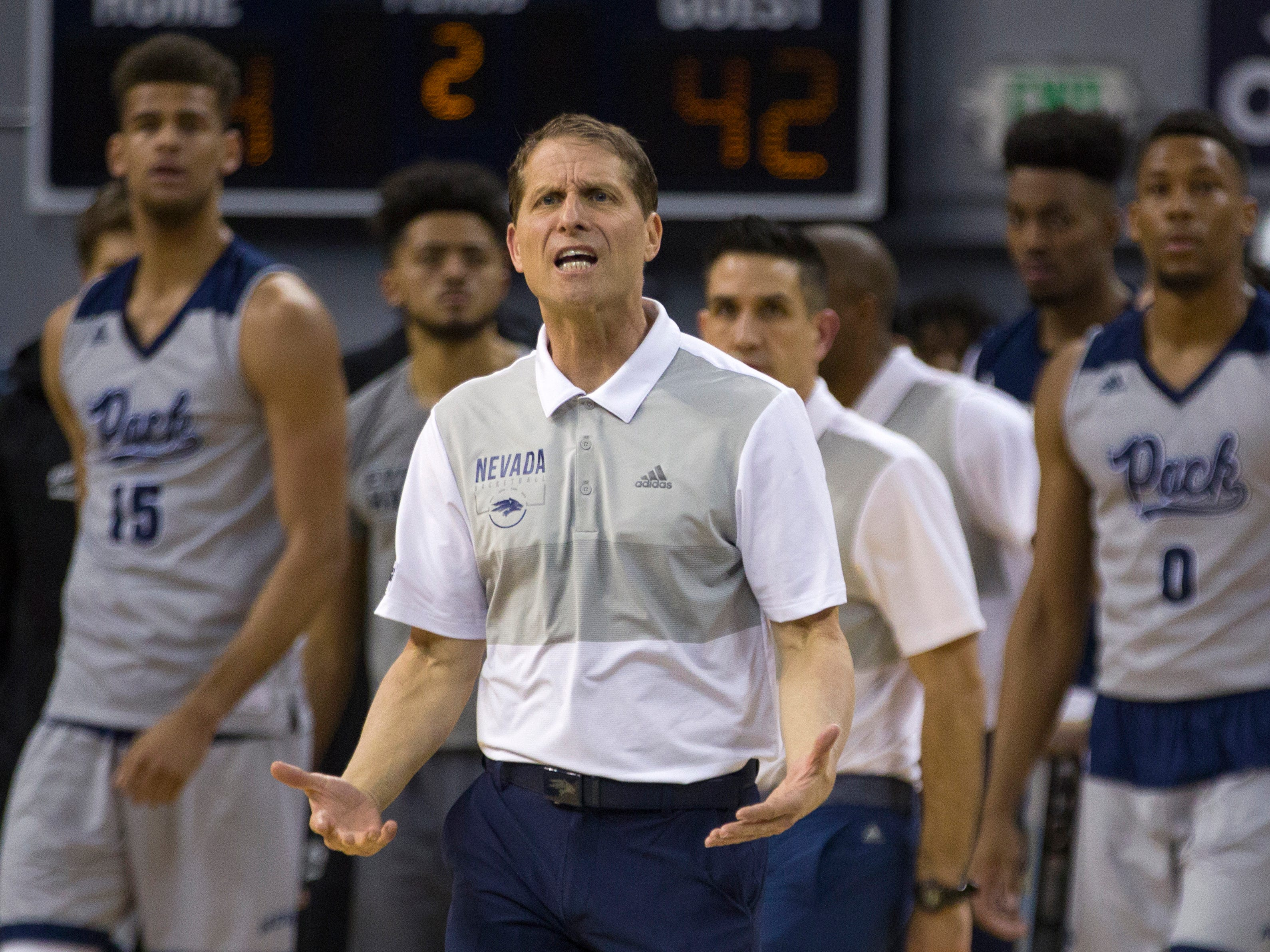 Nevada head coach Eric Musselman is unhappy with a call in the second half of an NCAA college basketball game against Boise State in Reno, Nev., Saturday, Feb. 2, 2019. (AP Photo/Tom R. Smedes)
