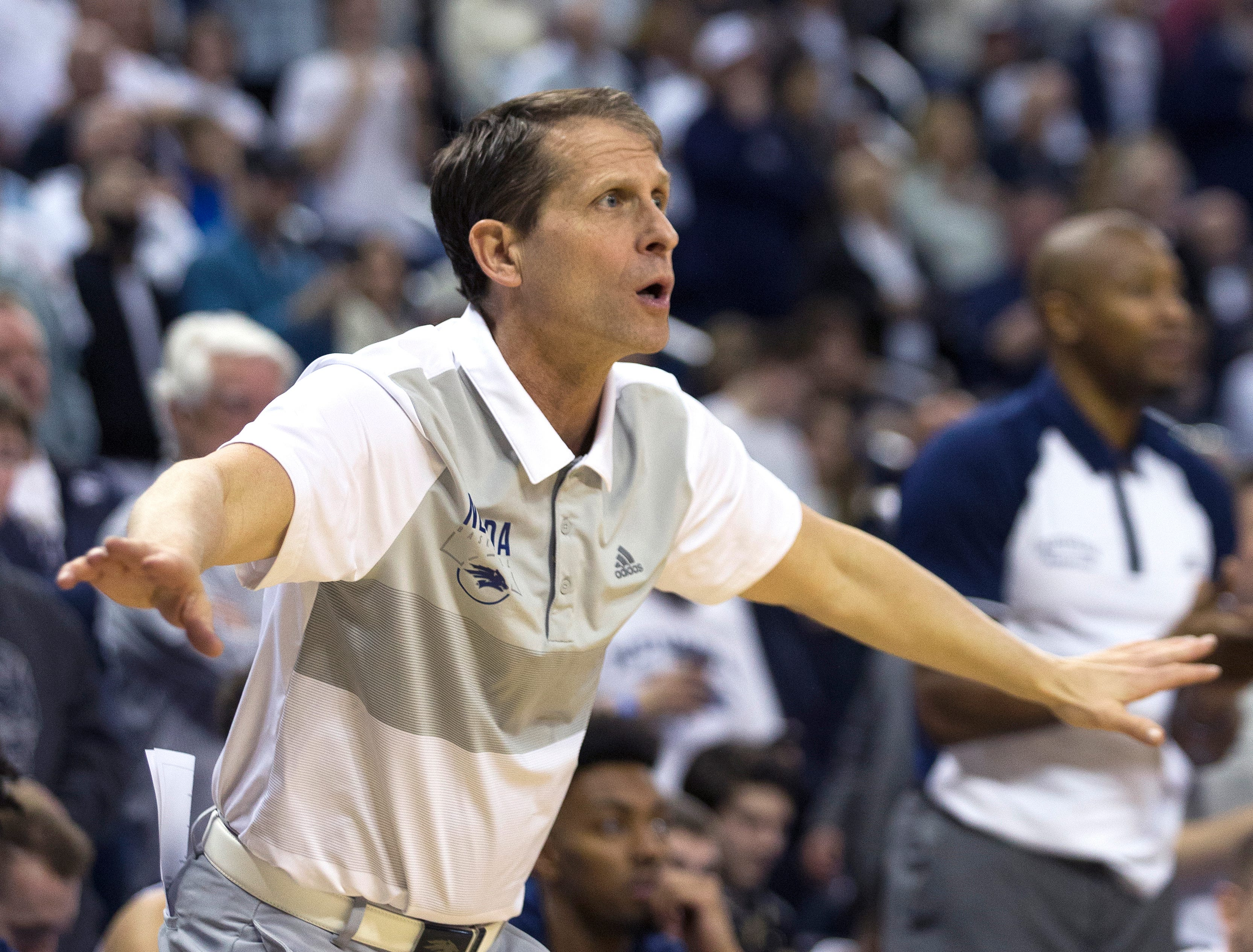 Nevada head coach Eric Musselman works the sidelines against Fresno State in the first half of an NCAA college basketball game in Reno, Nev., Saturday, Feb. 23, 2019. (AP Photo/Tom R. Smedes)