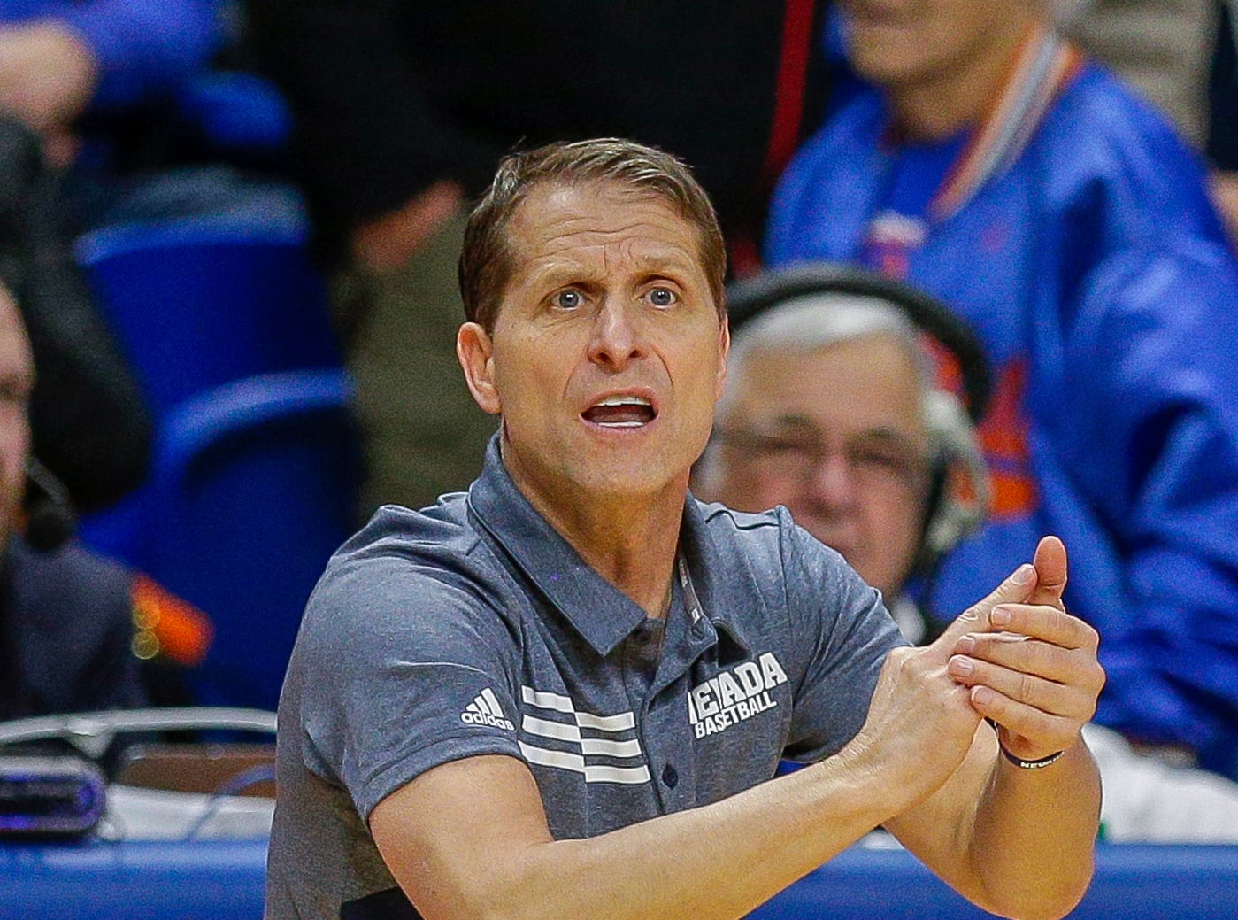 Nevada head coach Eric Musselman during the second half of an NCAA college basketball game against Boise State, Tuesday, Jan. 15, 2019, in Boise, Idaho. Nevada won 72-71. (AP Photo/Steve Conner)