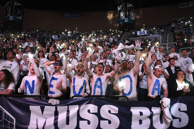 The Nevada student section cheers at the start of the Nevada-Fresno State game on Feb. 23 at Lawlor Events Center.