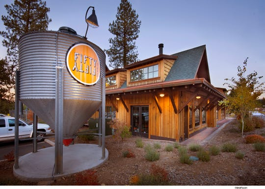 FiftyFifty Brewing Co. of Truckee, shown here at dusk, will be the anchor tenant of the food hall at Reno Public Market, the project that's a re-imagining of Shoppers Square.