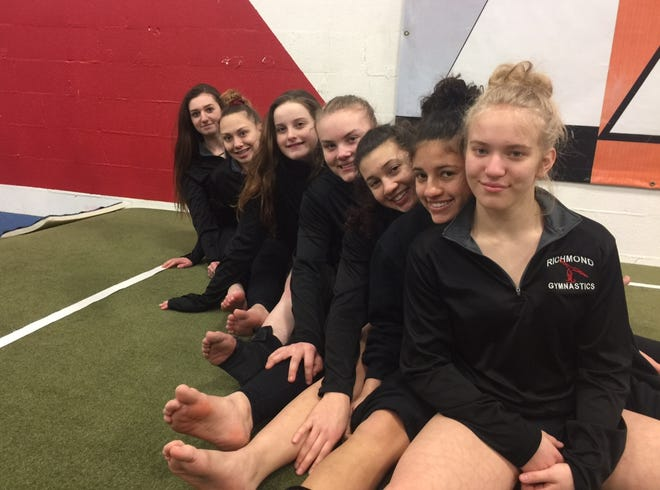 The seven Richmond gymnasts who competed at regionals (from front): Lizzy Ruger (9), Eva Bosell (12), Kinsey Bosell (9), Kayla Zaleski (11), Aubrey Uhte (9), Katelyn Evans (10) and Ashley Madill.