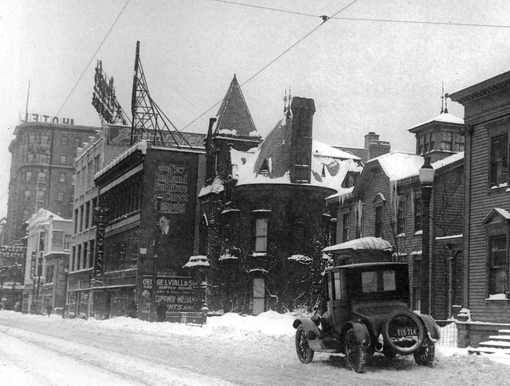 The New England Furniture and Carpet Company, the Lyceum Theatre and Hotel Seneca are shown on Clinton Ave. (staff photo's 1920'). The Lyceum closed in 1934.