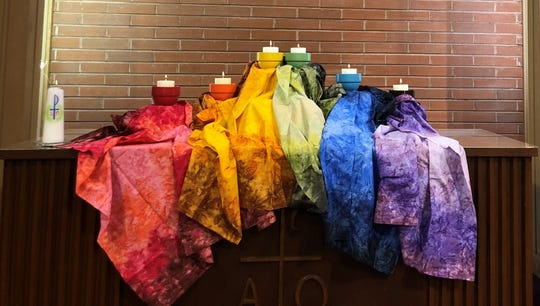 The altar at the Morningside United Methodist Church in Salem is decorated to show commitment to LGBTQ church members following a divisive vote in Missouri.