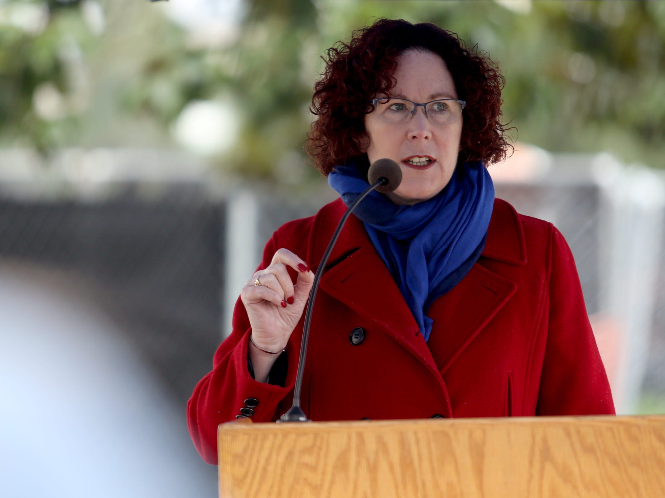 "Oregon Labor Commissioner Val Hoyle speaks during a demonstration for International Women's Day at the Oregon State Capitol in Salem on Friday, March 8, 2019. Many during the rally voiced their support for a state-run family and medical leave insurance program in Oregon. ""If we really do value life, and if we really do value families, then we really need paid family leave,"" Hoyle said."