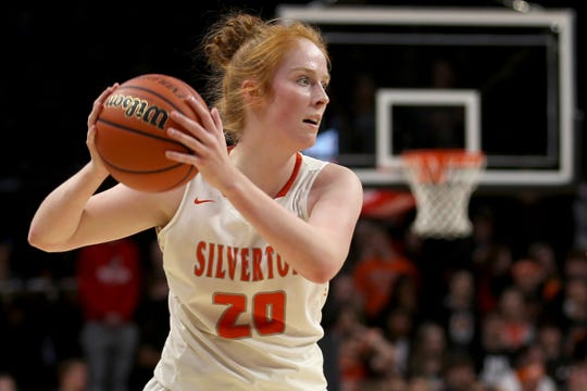 Silverton's Riley Traeger (20) looks to pass the ball in the first half of the La Salle Prep vs. Silverton girls basketball game in the OSAA Class 5A quarterfinals at Oregon State University in Corvallis on Thursday, March 7, 2019. La Salle Prep won the game 57-46.