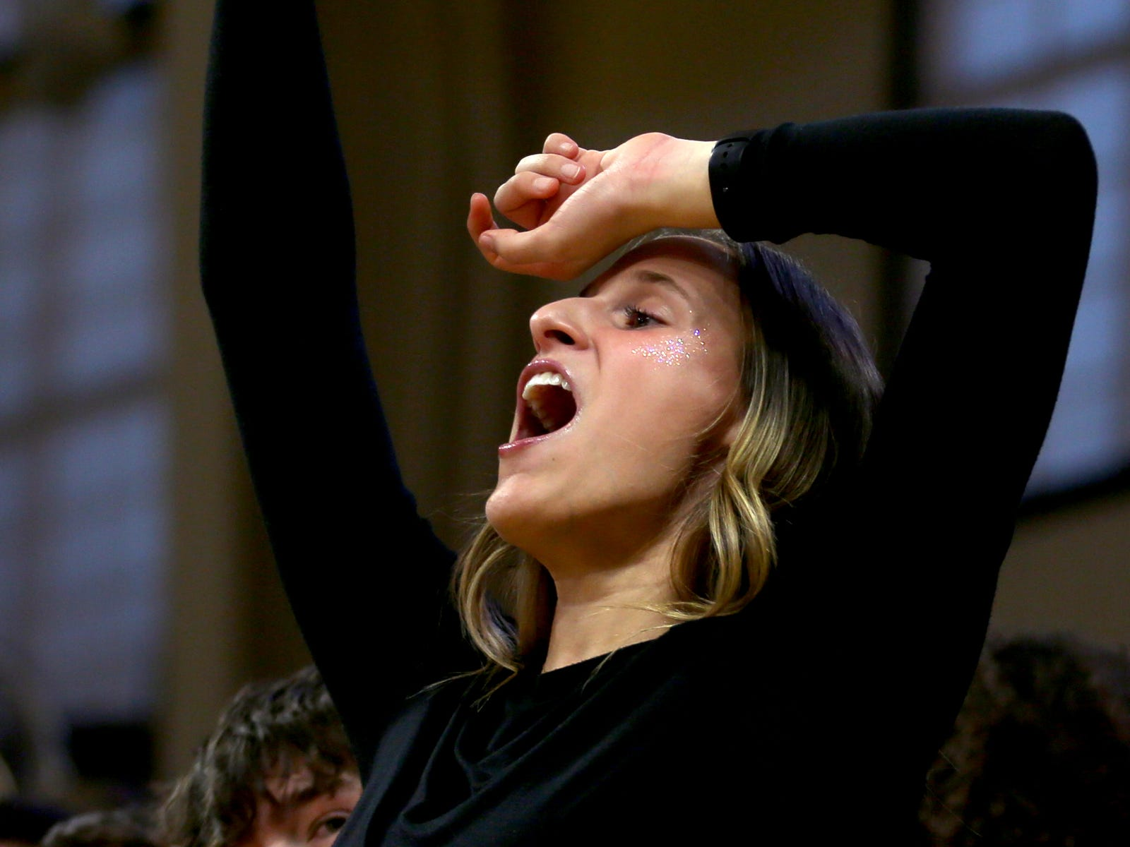 A Silverton fan reacts to a play in the second half of the La Salle Prep vs. Silverton girls basketball game in the OSAA Class 5A quarterfinals at Oregon State University in Corvallis on Thursday, March 7, 2019. La Salle Prep won the game 57-46.