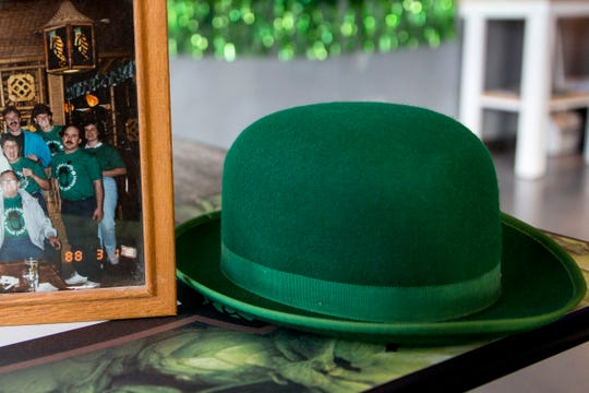 A hat that belonged to John J. Kelly is pictured Lucky's Pub in Salem on Thursday, Mach 7, 2019. The John J. Kelly Pub Krawl has been around since 1988.