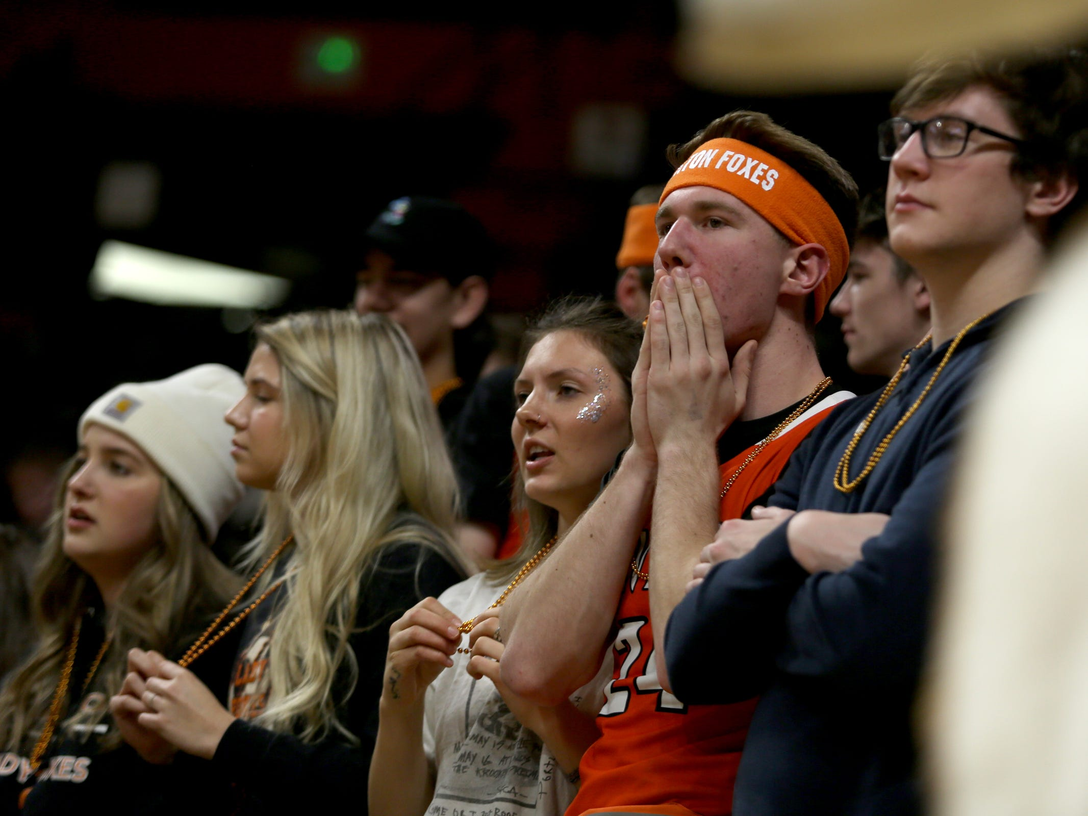 Silverton fans react to a play in the second half of the La Salle Prep vs. Silverton girls basketball game in the OSAA Class 5A quarterfinals at Oregon State University in Corvallis on Thursday, March 7, 2019. La Salle Prep won the game 57-46.