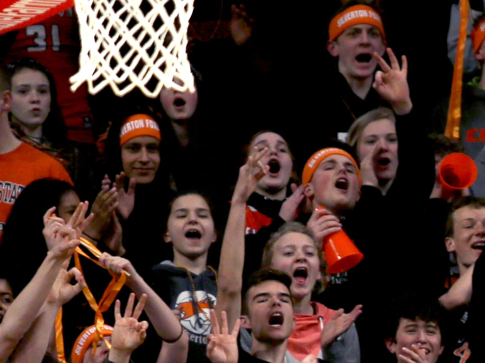Silverton fans cheer in the first half of the La Salle Prep vs. Silverton girls basketball game in the OSAA Class 5A quarterfinals at Oregon State University in Corvallis on Thursday, March 7, 2019. La Salle Prep won the game 57-46.