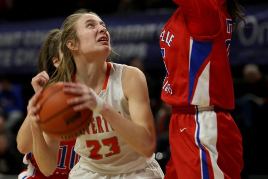 Silverton's Truitt Reilly (23) eyes the basket in the second half of the La Salle Prep vs. Silverton girls basketball game in the OSAA Class 5A quarterfinals at Oregon State University in Corvallis on Thursday, March 7, 2019. La Salle Prep won the game 57-46.