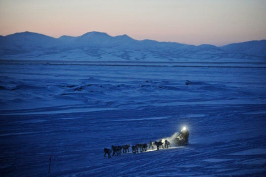 In this on March 11, 2012 file photo, Dallas Seavey pulls in to the checkpoint in Unalakleet, Alaska, during the Iditarod Trail Sled Dog Race.