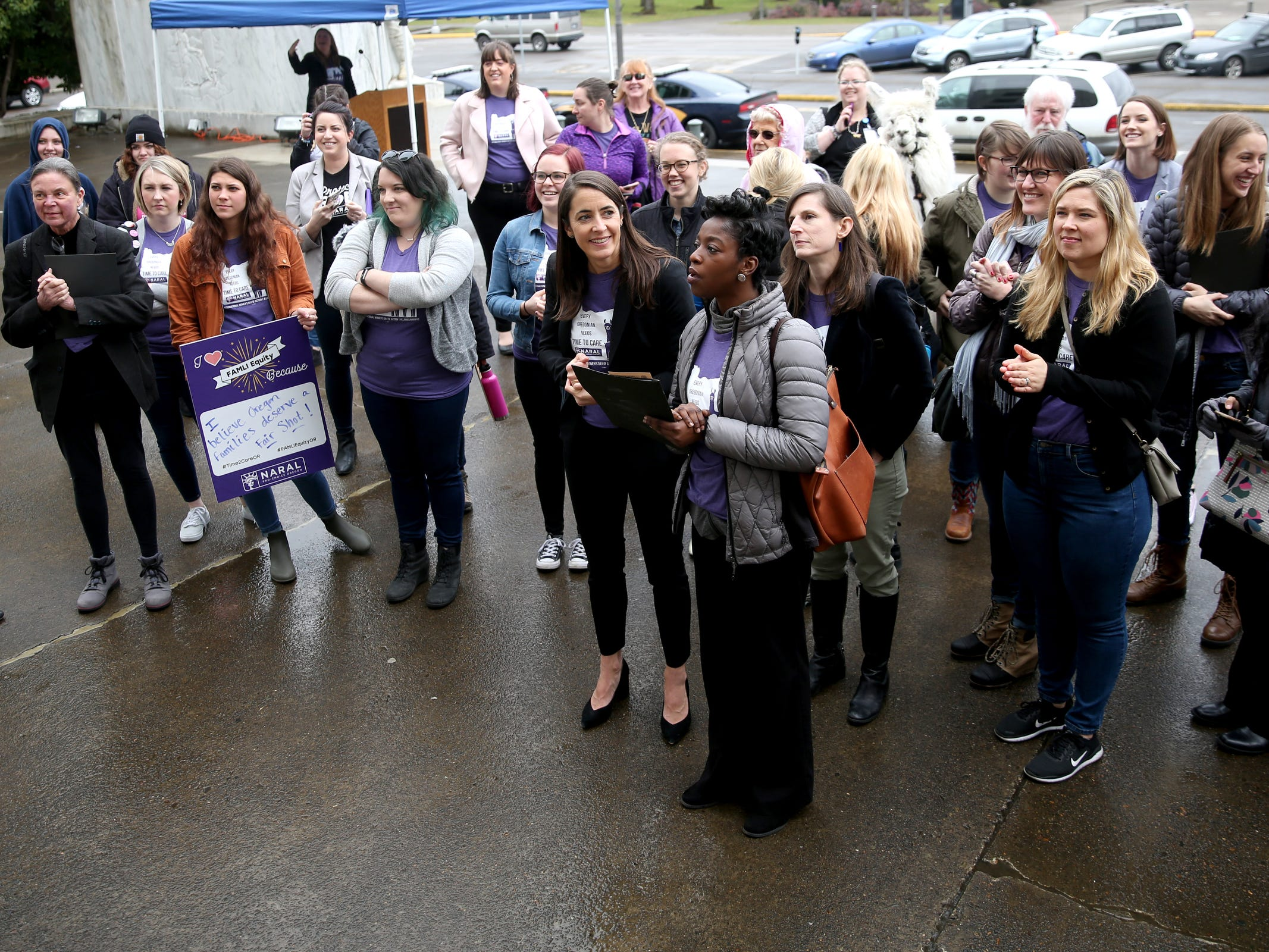 A demonstration for International Women's Day at the Oregon State Capitol in Salem on Friday, March 8, 2019. Many during the rally voiced their support for a state-run family and medical leave insurance program in Oregon.