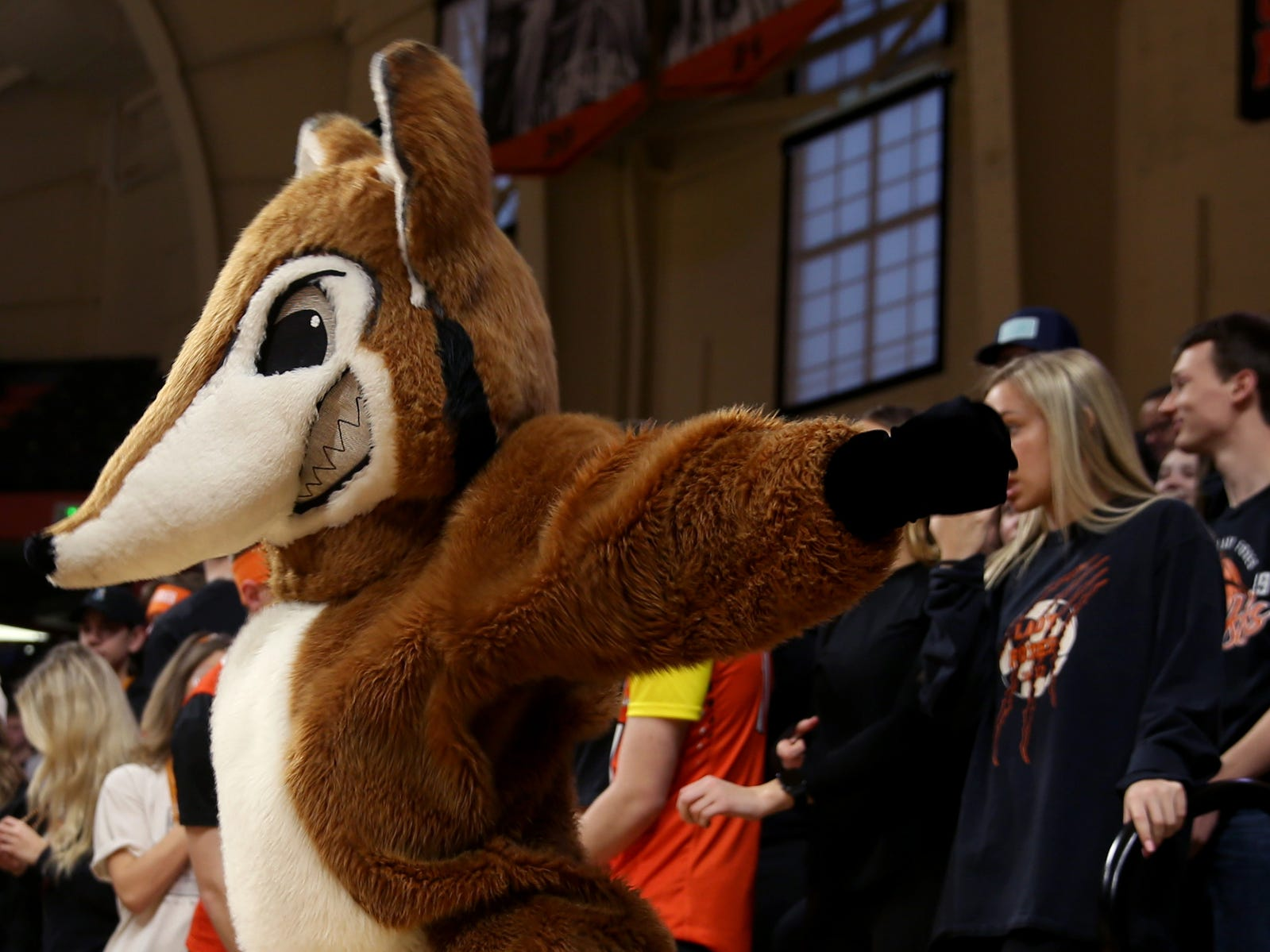 The Silverton Foxes mascot dances during the second half of the La Salle Prep vs. Silverton girls basketball game in the OSAA Class 5A quarterfinals at Oregon State University in Corvallis on Thursday, March 7, 2019. La Salle Prep won the game 57-46.