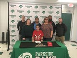 Parkside senior track runner Robert Stuetz signed his national letter of intent to run track at East Stroudsburg University on Friday, March 8, 2019.