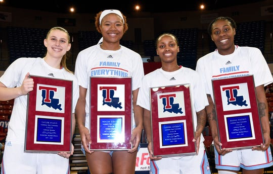 Taylor Stahly, Reauna Cleaver, Kierra Anthony and Zhanae Whitney played their final home game for the Lady Techsters on Thursday's Senior Night