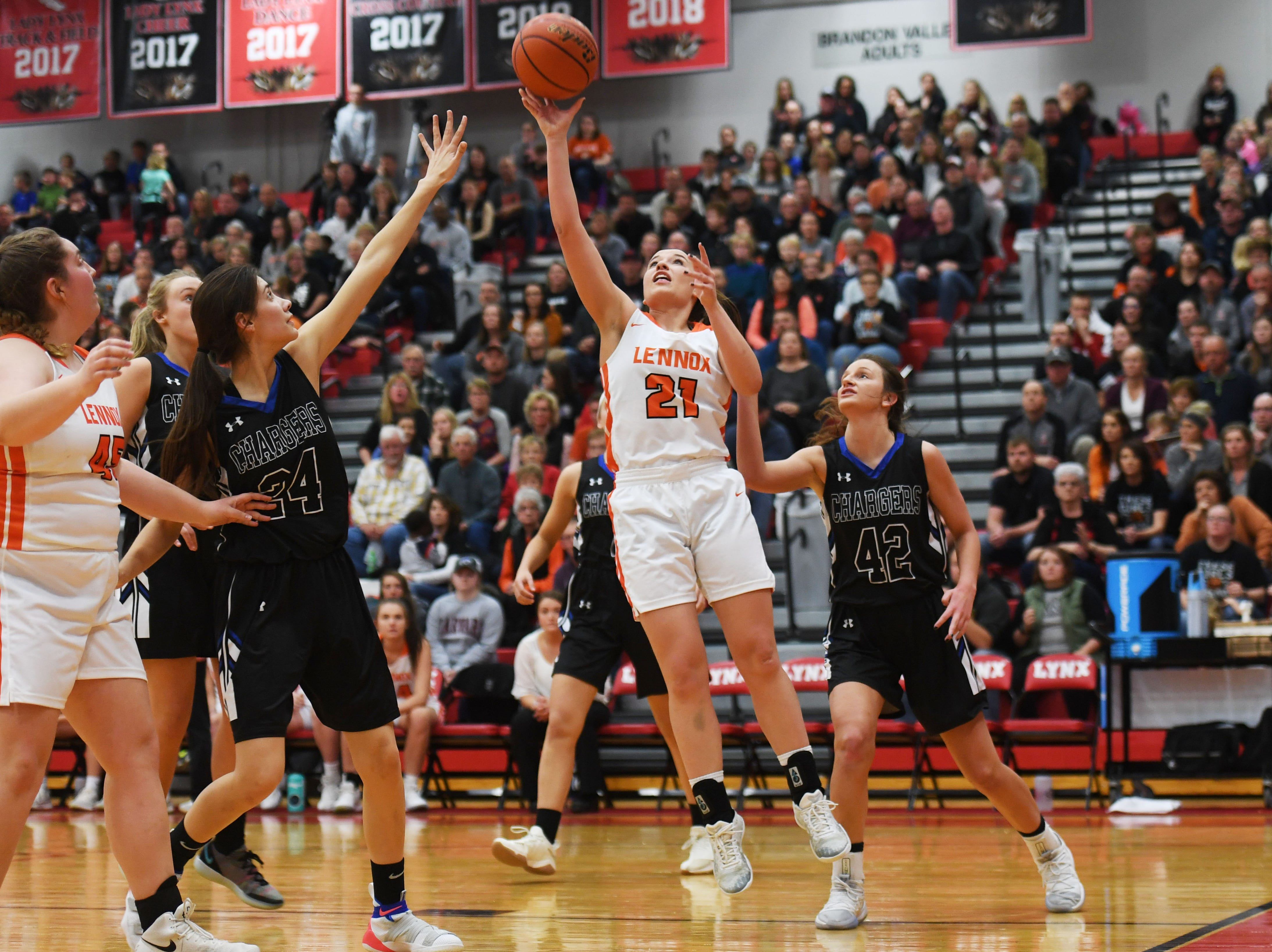 Lennox's Riley Peters takes a shot against Sioux Falls Christian during the game Thursday, March 7, at Brandon Valley High School in Brandon Valley.