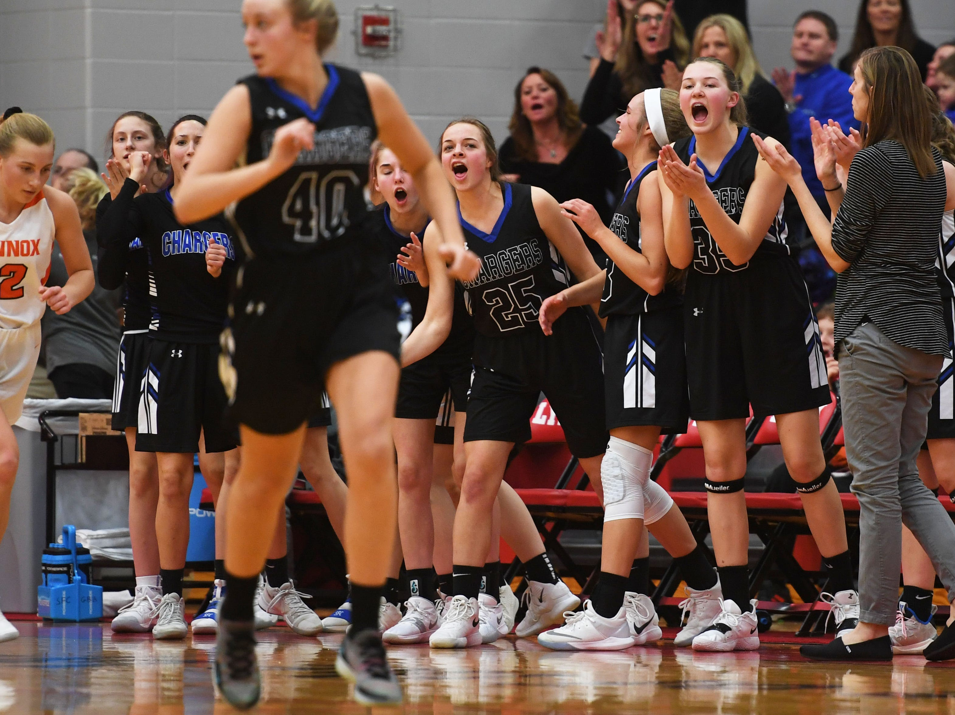 Sioux Falls Christian's sideline reacts during the game against Lennox Thursday, March 7, at Brandon Valley High School in Brandon Valley.
