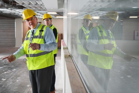 Chad Bare, Assistant Vice President of Avera On Louise at Avera McKennan Hospital, and David Flicek, president and CEO of Avera McKennan, give a tour of the new hospital on Louise Avenue Thursday, March 7, at the new site on Louise Avenue in Sioux Falls.