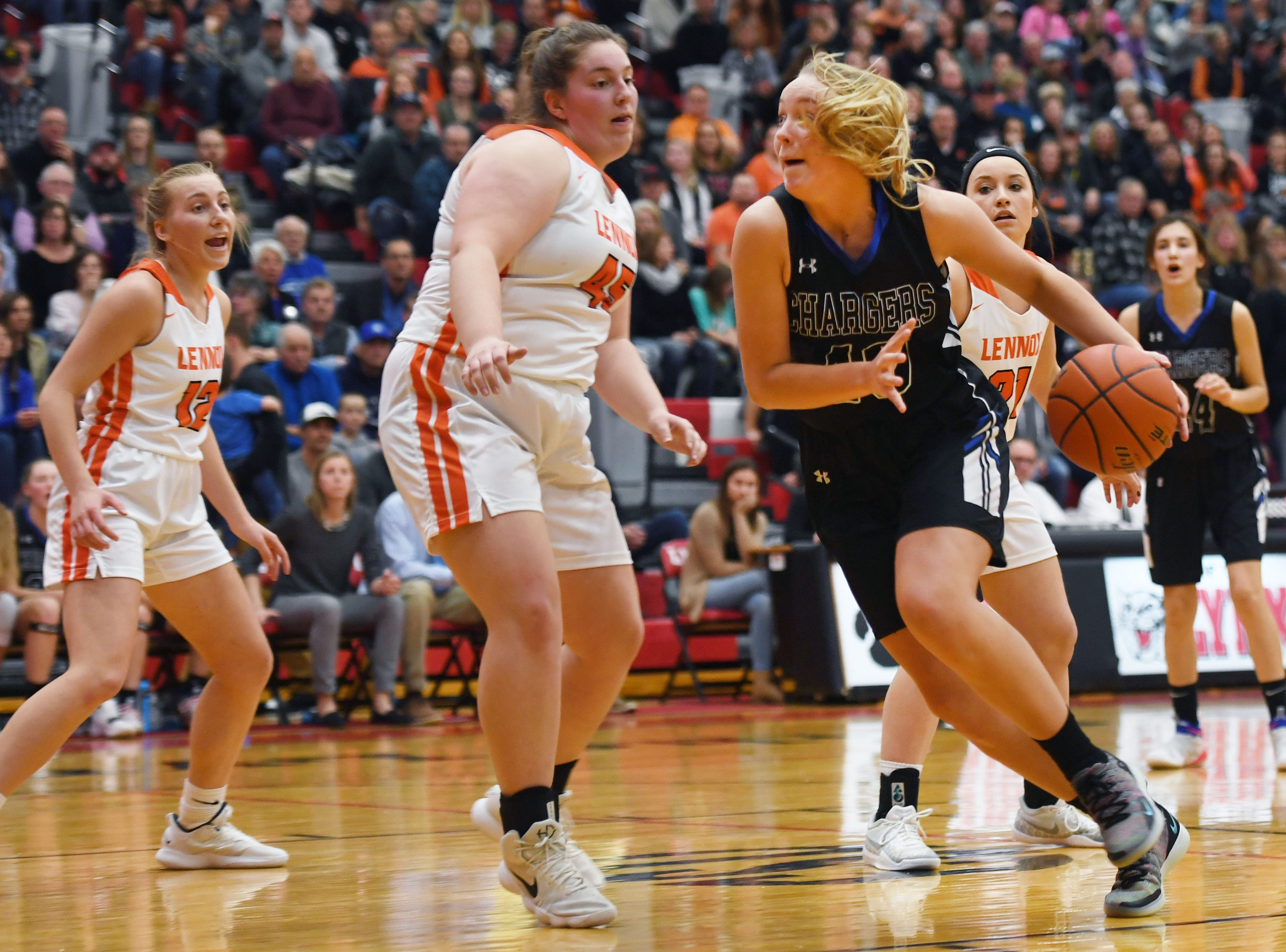 Sioux Falls Christian's Lauren Tims goes against Lennox defense during the game Thursday, March 7, at Brandon Valley High School in Brandon Valley.