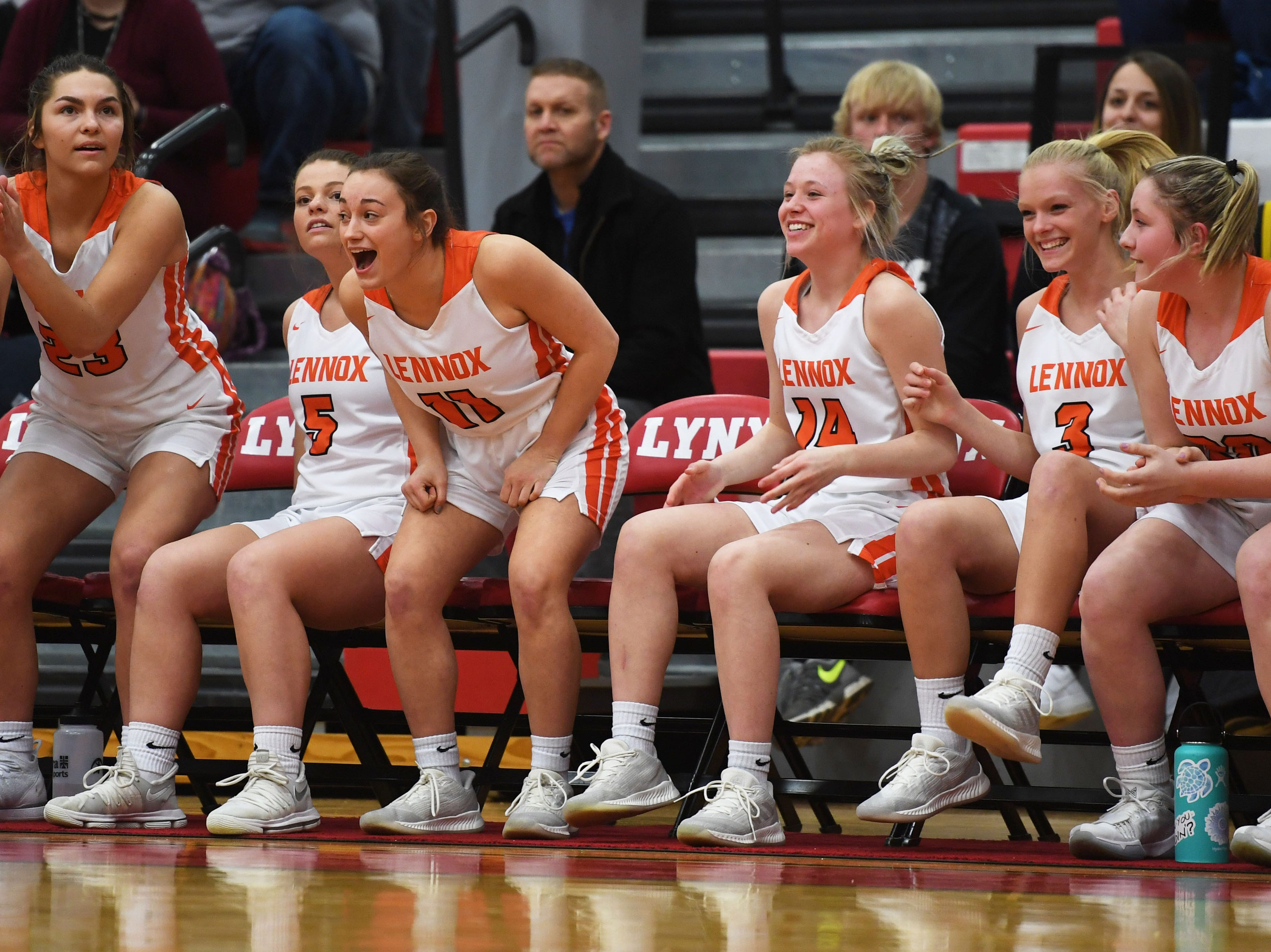 Lennox's sideline reacts during the game against Sioux Falls Christian Thursday, March 7, at Brandon Valley High School in Brandon Valley.