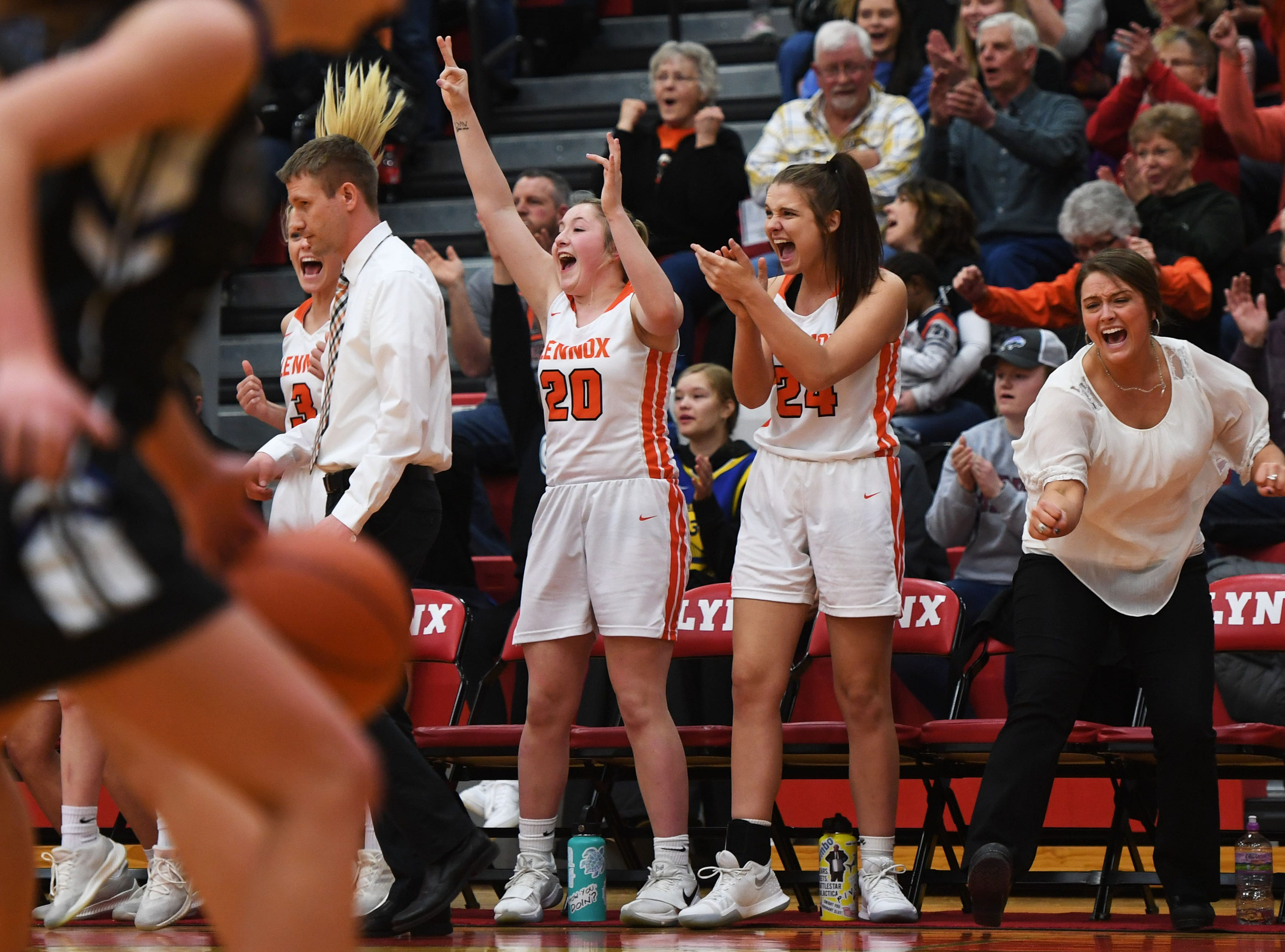 Lennox's sideline during the game against Sioux Falls Christian Thursday, March 7, at Brandon Valley High School in Brandon Valley.