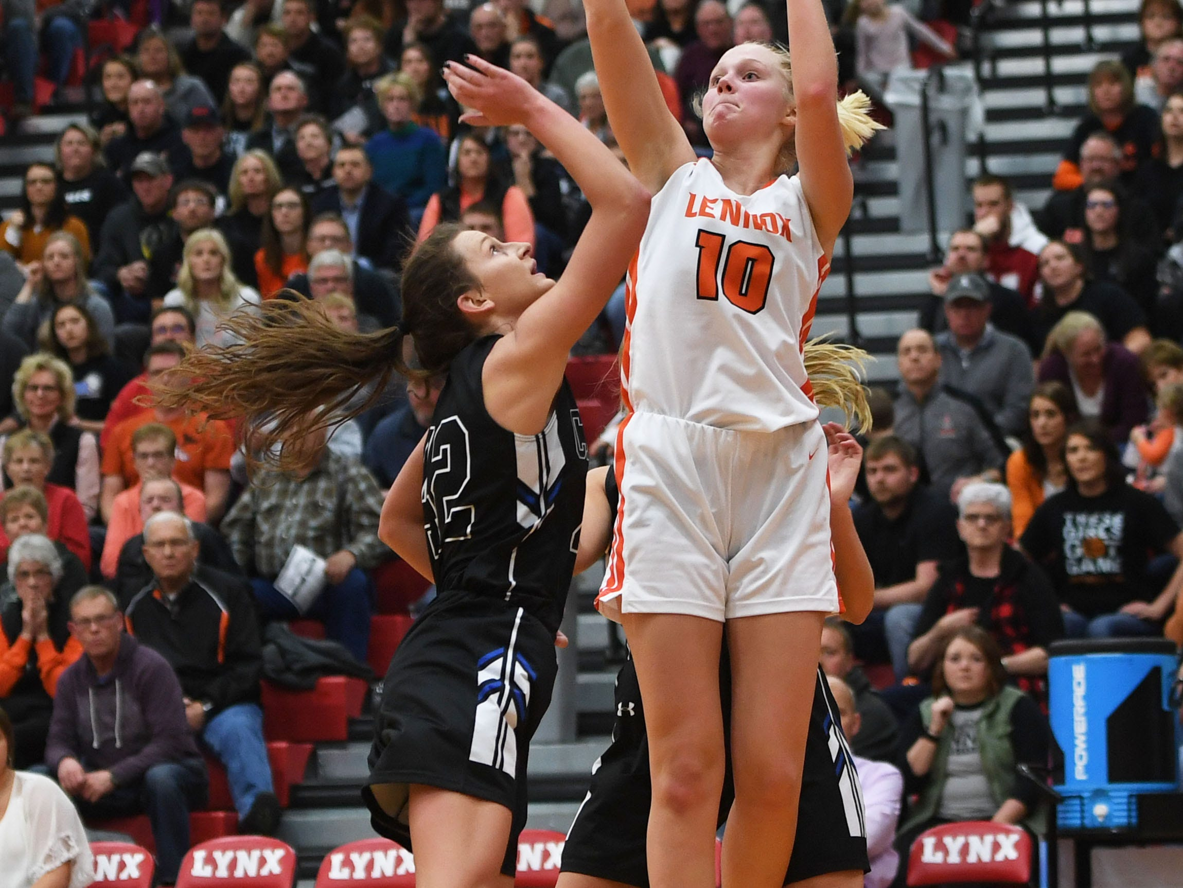 Lennox's Madysen Vlastuin takes a shot against Sioux Falls Christian during the game Thursday, March 7, at Brandon Valley High School in Brandon Valley.