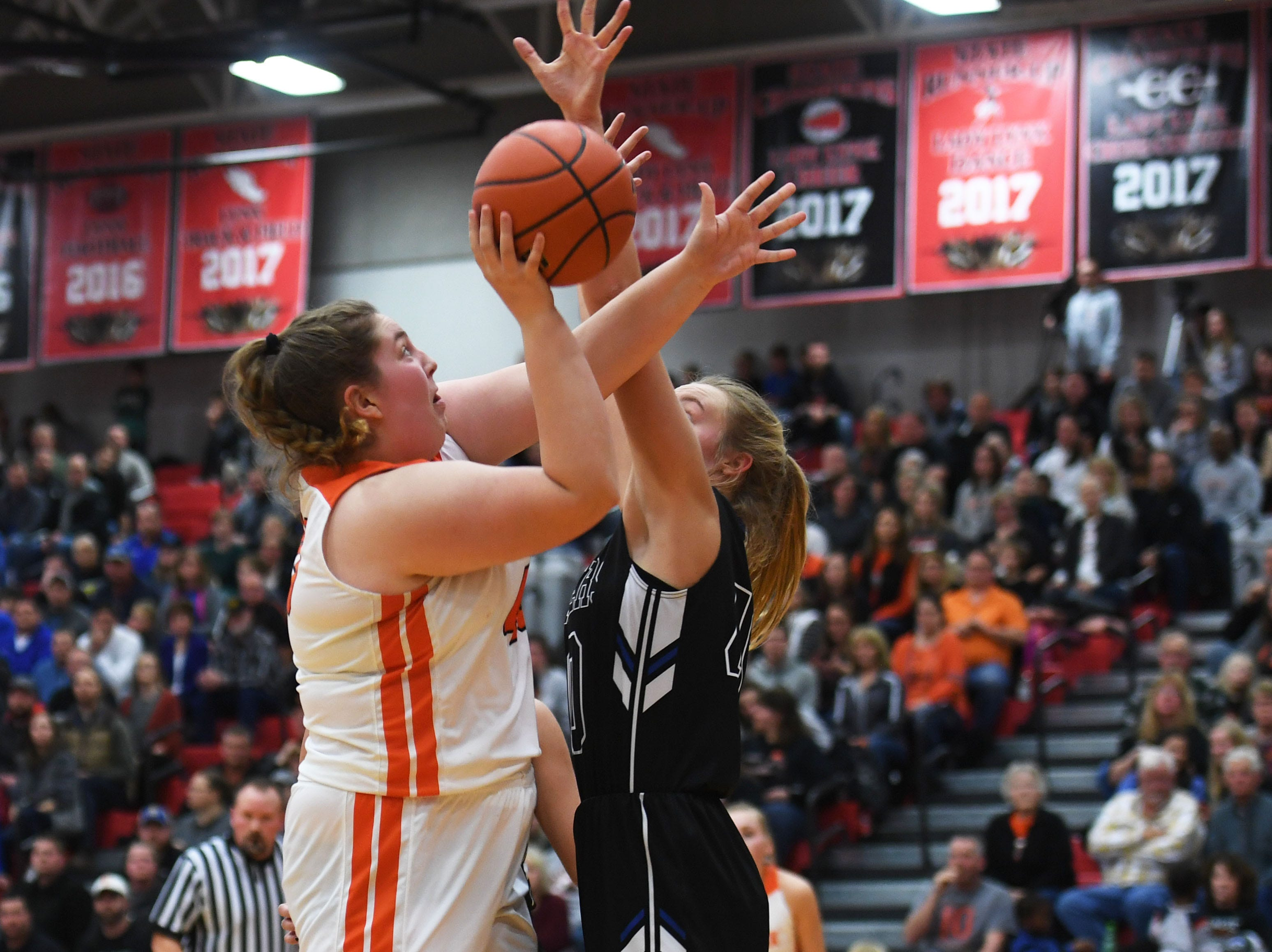 Lennox's Leslie Fillipi takes a shot against Sioux Falls Christian defense during the game Thursday, March 7, at Brandon Valley High School in Brandon Valley.