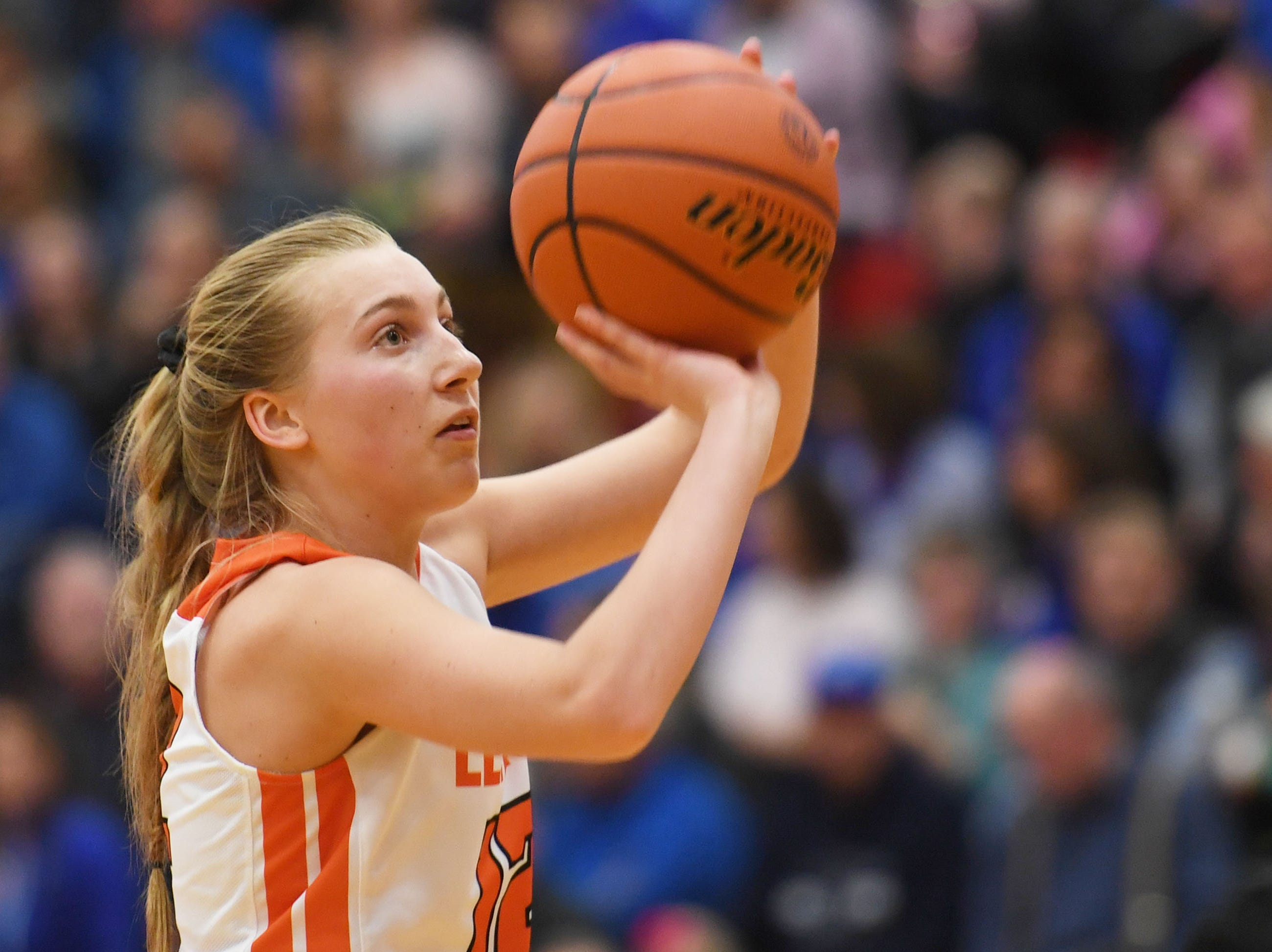 Lennox's Isabel Ihnen shoots a free throw in the fourth period during the game against Sioux Falls Christian Thursday, March 7, at Brandon Valley High School in Brandon Valley.