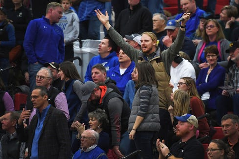 Sioux Falls Christian fans react during the game against Lennox Thursday, March 7, at Brandon Valley High School in Brandon Valley.