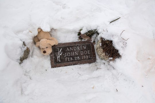 The grave of Baby Andrew John Doe, an infant who was found dead in a ditch in 1981, is shown. Police arrested Theresa Rose Bentaas decades later on Friday, March 8, 2019 after determining through DNA that she was the mother.