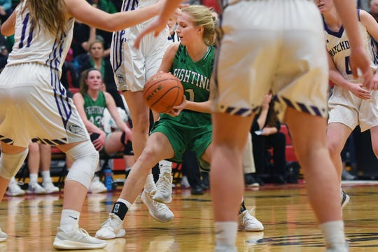 McCook Central/Montrose's Jacy Pulse goes against Beresford defense during the game Thursday, March 7, at Brandon Valley High School in Brandon Valley.