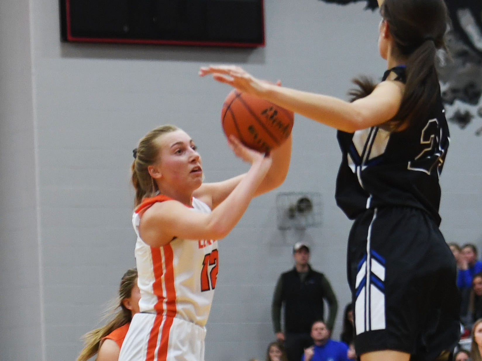 Lennox's Isabel Ihnen takes a shot during the game against Sioux Falls Christian Thursday, March 7, at Brandon Valley High School in Brandon Valley.