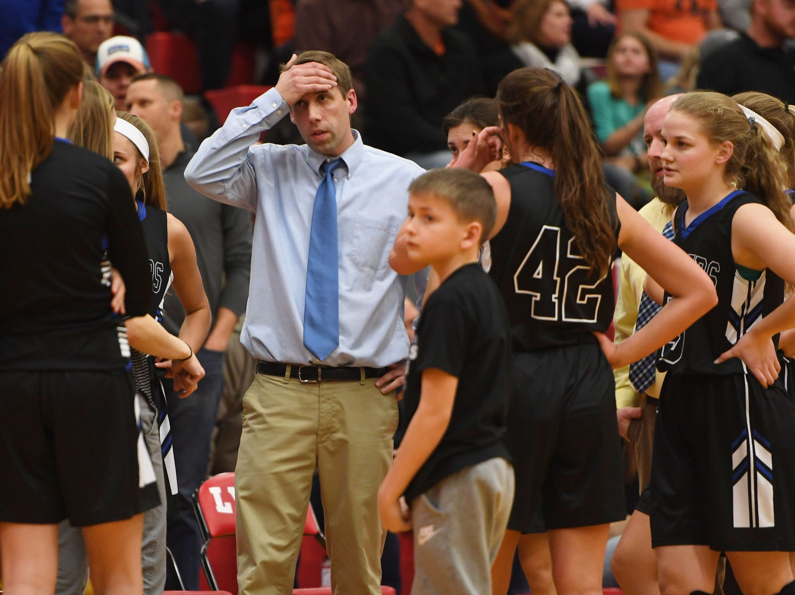 Sioux Falls Christian sidelines during the game against Lennox Thursday, March 7, at Brandon Valley High School in Brandon Valley.