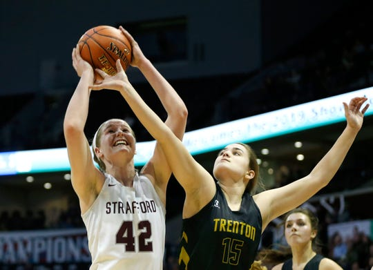 The Strafford Lady Indians take on the Trenton Lady Bulldogs in the semifinal round during Class 3 state basketball at JQH Arena on Thursday, March 7, 2019.
