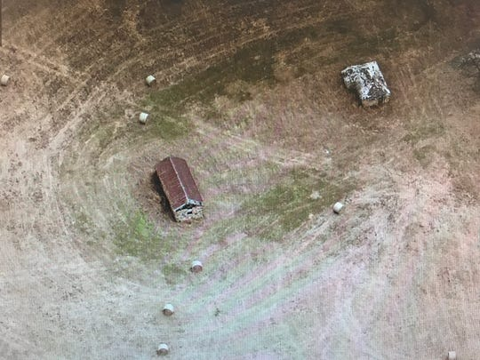 This is an aerial photo of the two structures.