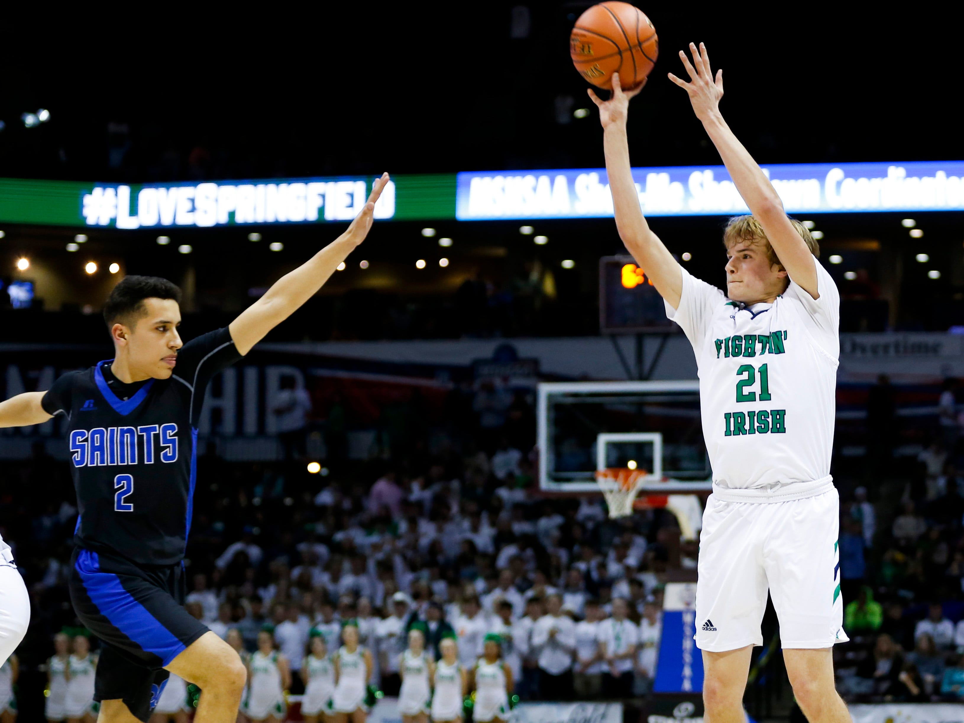 The Springfield Catholic Fightin Irish take on the St. Paul Lutheran Saints in the semifinal round of Class 3 state basketball at JQH Arena on Thursday, March 7, 2019.