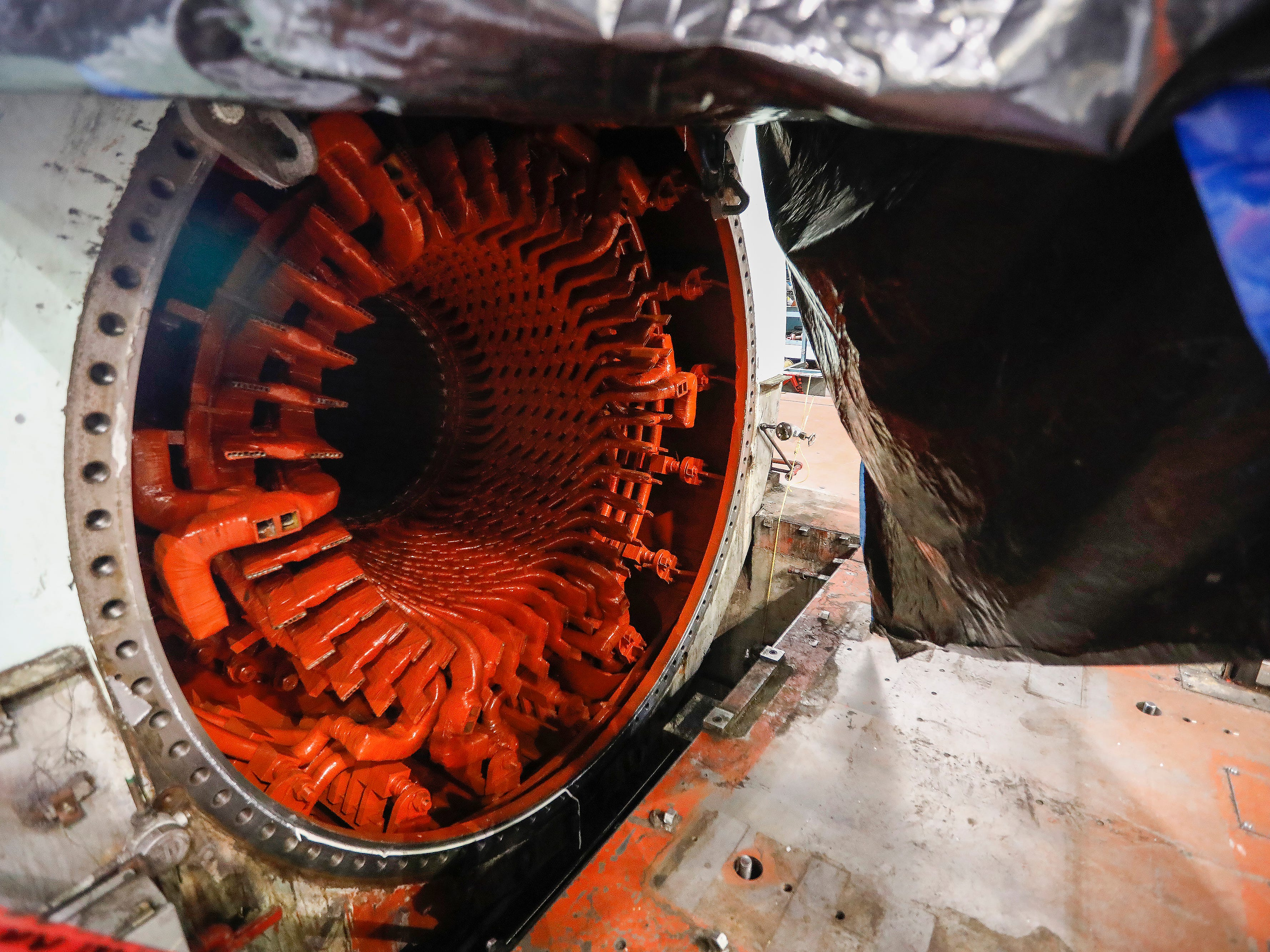 This is where the 86,000 pound turbine sits inside the generator at the John Twitty Energy Center.