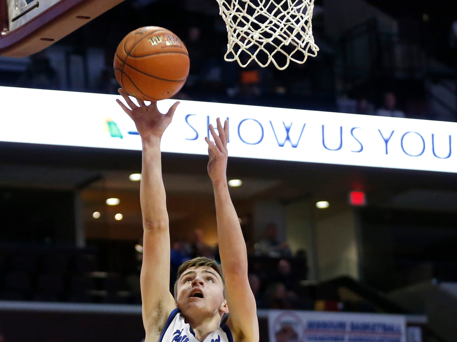 The Greenwood Blue Jays take on the Plattsburg Tigers in the semifinal round of Class 2 state basketball at JQH Arena on Friday, March 8, 2019.