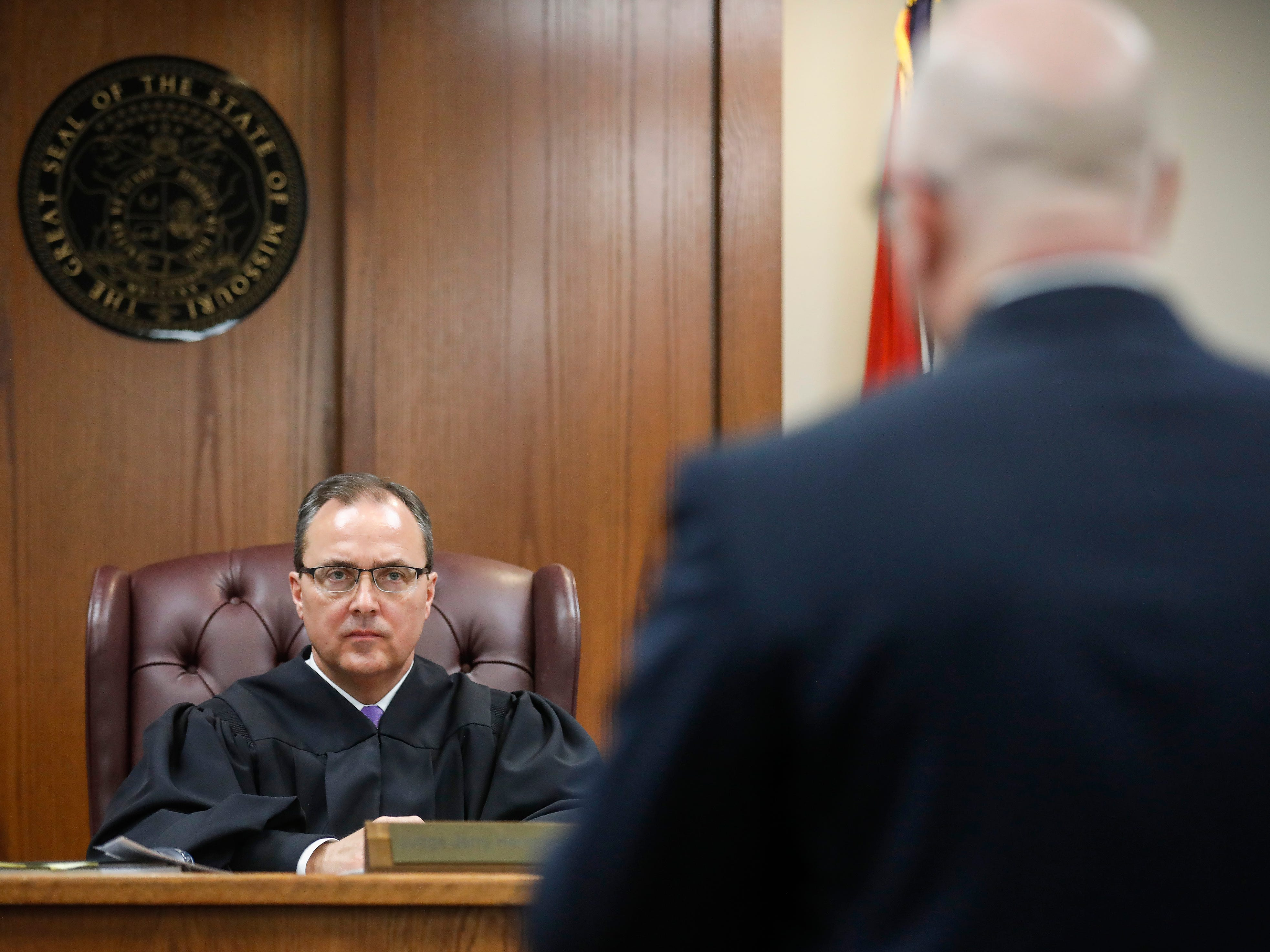 Dorial Green-Beckham's lawyer Tyson Martin, right, delivers his closing argument in front of Judge Jerry Harmison during a probation violation hearing in a prior DWI case on Friday, March 8, 2019.