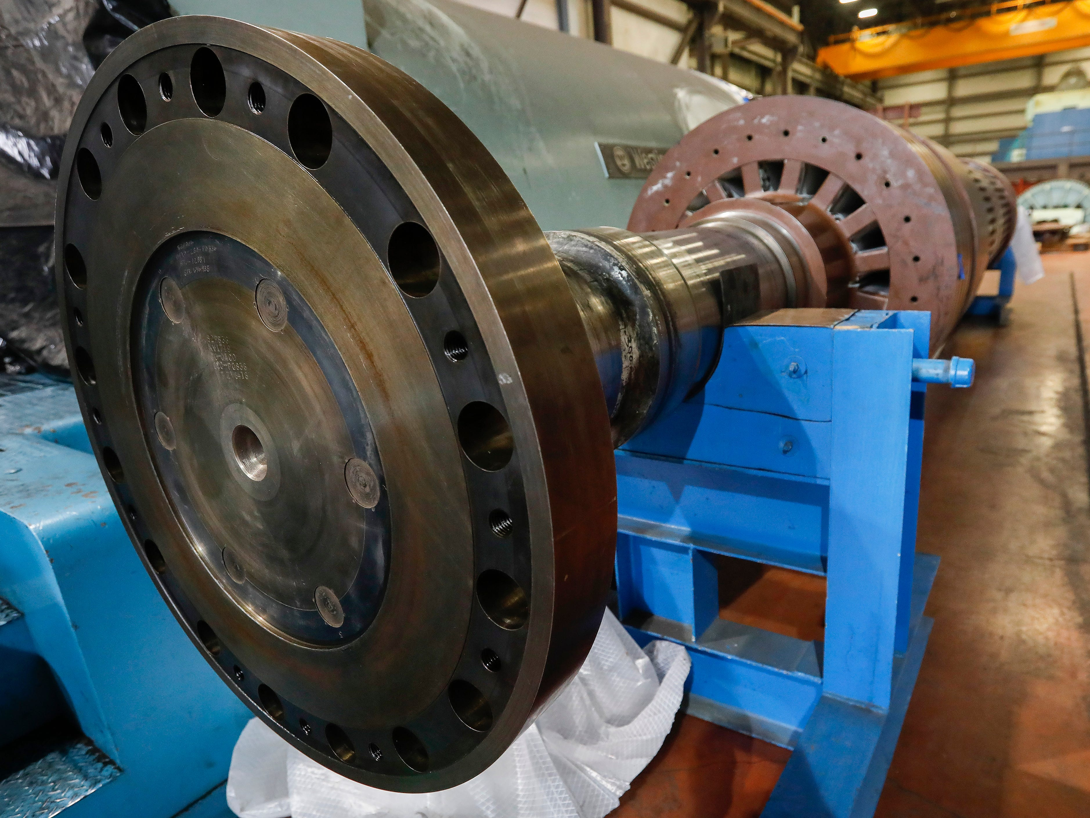 High winds on Feb. 23 caused a switch to be flipped at the John Twitty Energy Center, causing damage to the rotor   near the 86,000- pound turbine.