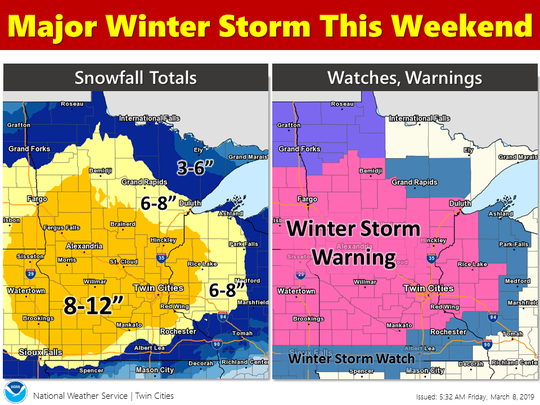 A winter storm warning is in effect from 9 a.m. tomorrow/Saturday to 1 p.m. Sunday.