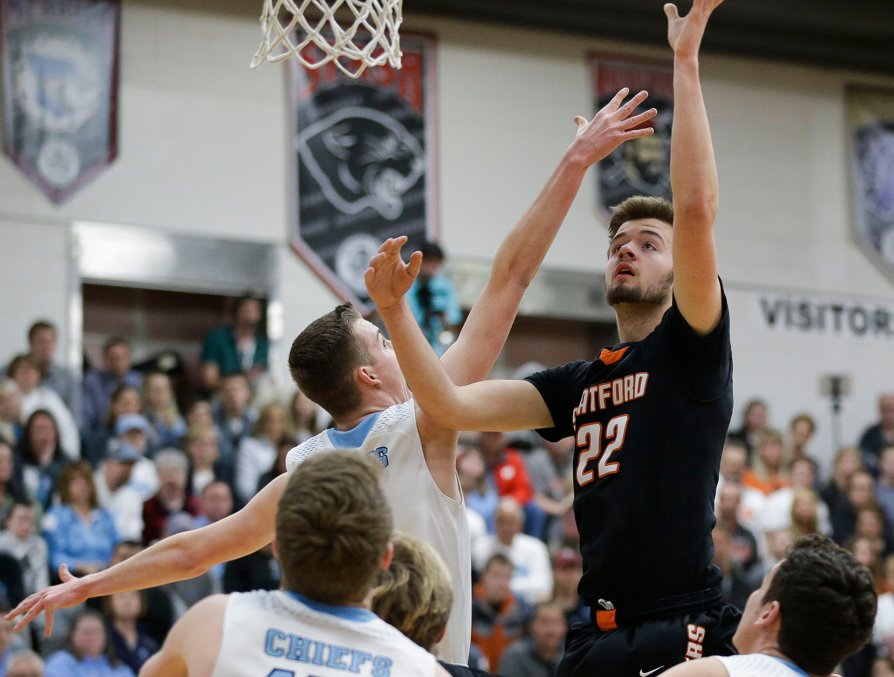 Stratford's Vaughn Breit (22) puts up a shot against Wisconsin Dells in a Division 3 sectional semifinal on Thursday, March 7, 2019, at Stevens Point Area High School in Stevens Point, Wis. Tork Mason/USA TODAY NETWORK-Wisconsin