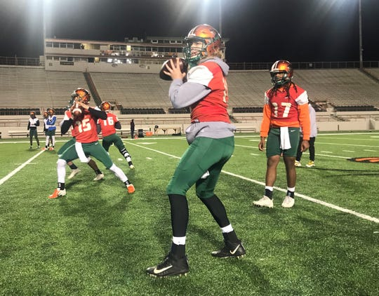FAMU quarterback Ryan Stanley drops back to pass during spring practice drills. The veteran signal caller is focused on improving his mechanics and ability to read coverage.