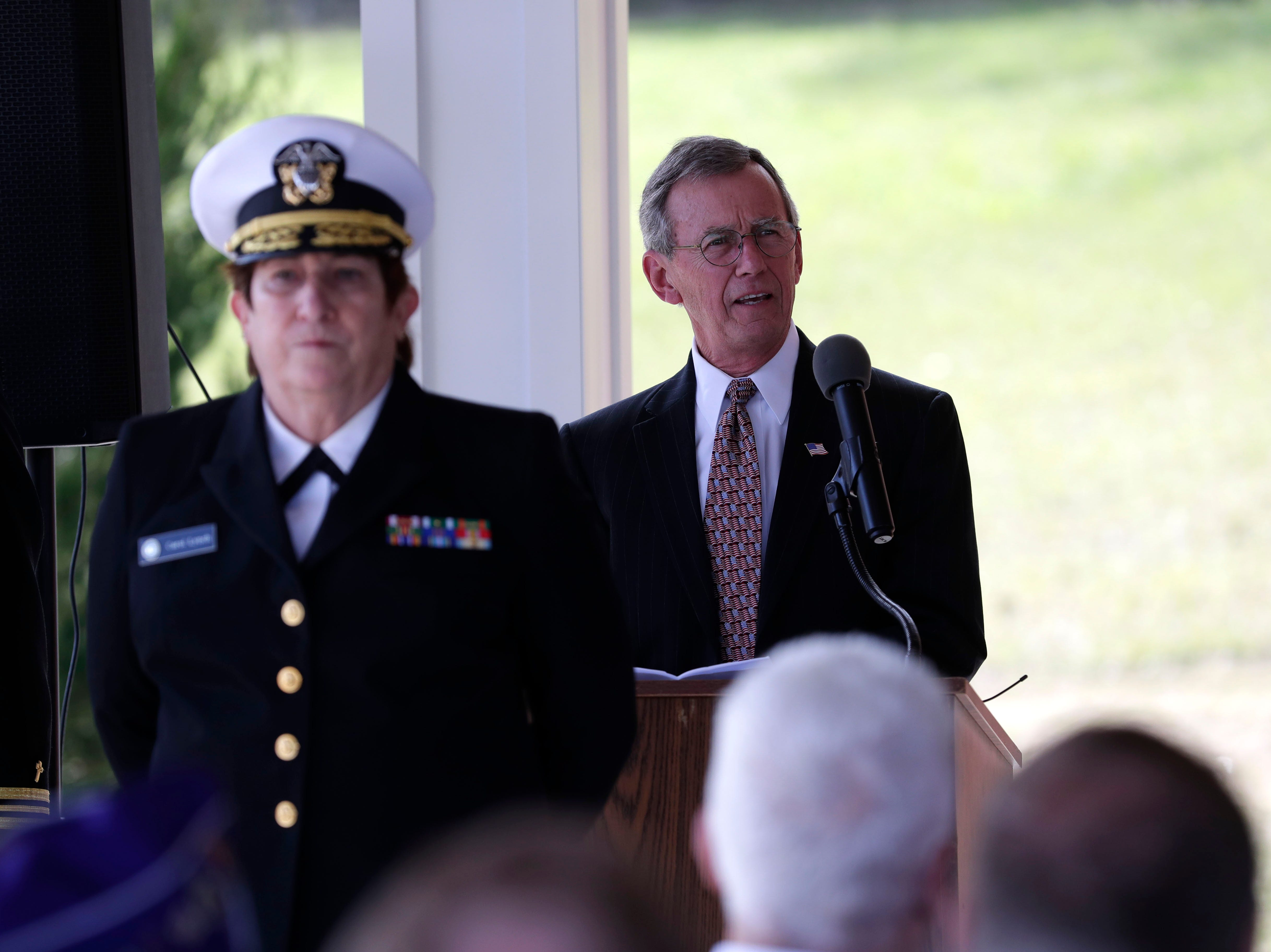 Rear Adm. Rick Grant speaks on behalf of the Baum family. A funeral was held at the Tallahassee National Cemetery honoring Earl Paul Baum, a sailor who was killed in Pearl Harbor, Friday, March 8, 2019.